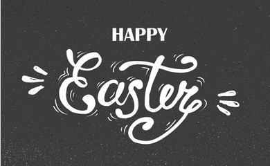 happy Easter Hand drawn lettering. design for holiday greeting card and invitation of the happy Easter day on chalkboard
