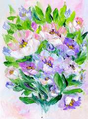 Hand painted modern style pink and purple flowers. Spring flower seasonal nature background. Oil painting floral texture