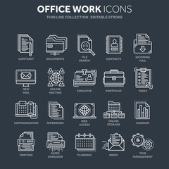 Business and office work. Documents, paperwork. Businessman. Thin line white web icon set. Outline icons collection. Vector illustration.