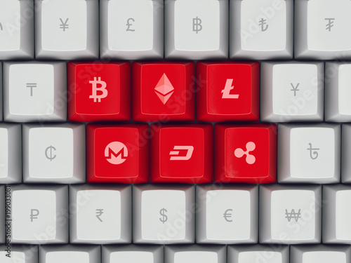 Set Of Keyboard Buttons With Popular Currency And Cryptocurrency