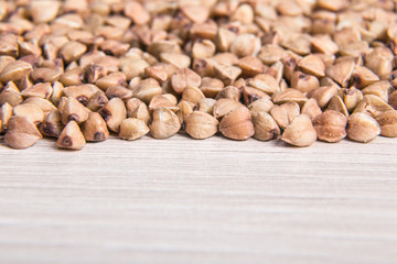 Buckwheat grains close-up. Macro photography.