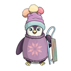 Cute penguin drawing with sleigh. Happy penguin character for kids. Vector illustration