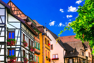 Fototapete - Colorful traditional villages of Alsace in France
