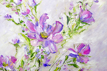Hand painted modern style Pink flowers. Spring flower seasonal nature background. Oil painting floral texture