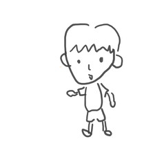 ぼく。僕の街のみんな。子供の落書き風。ゆるいイラスト線画、ラフ、下絵、塗り絵
