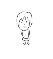 いつも優しいママ。僕の街のみんな。子供の落書き風。ゆるいイラスト線画、ラフ、下絵、塗り絵