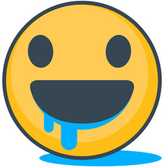 Isolated hungry emoticon. Vector emoticon.