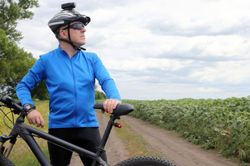 cyclist rides on a nature walk