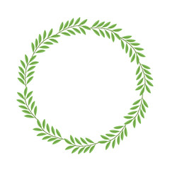 wreath leafs decorative icon vector illustration design