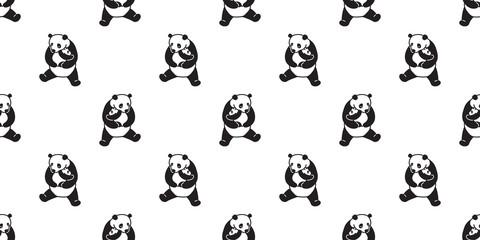 Bear seamless pattern vector polar bear panda isolated icon teddy doodle background wallpaper