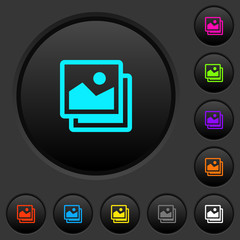 Pictures dark push buttons with color icons