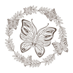 beautiful butterfly flying with floral decoration vector illustration design