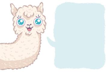 Cute alpaca with bubble.