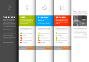 Product / service pricing comparison table template