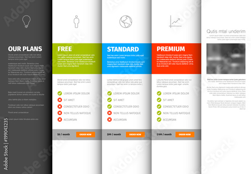 product service pricing comparison table template stock image and