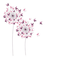 Abstract Paper Cut Out Butterfly Flower Background. Vector Illustration