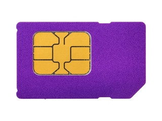 Close-up of purple mobile phone sim card with gold chip. Isolated on white background. High-quality macro photography.
