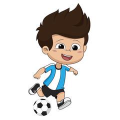 kid kicks a ball.