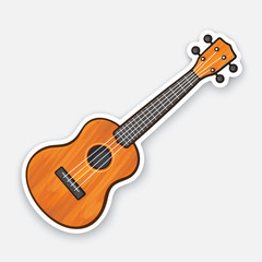 Sticker of small classical wooden guitar