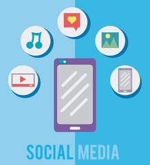 Smartphone with social media symbols