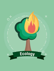 Ecology design with burned tree icon  over green background, colorful design. vector illustration