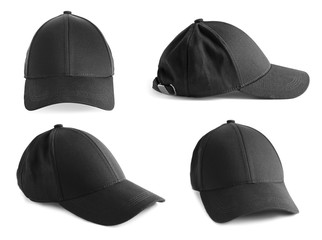 Set of black caps on white background. Mockup for design