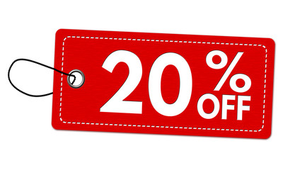 Special offer 20% off label or price tag