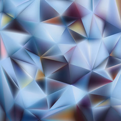 Polygonal light blue background with triangle shapes. Crystallized 3d effect.