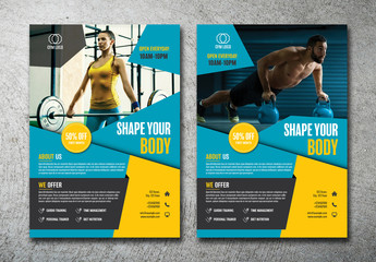 2 Gym Flyer Layouts with Blue and Yellow Accents