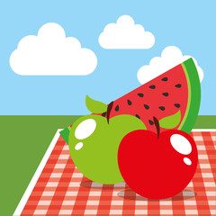 picnic tablecloth and watermelon apples on landscape vector illustration
