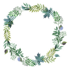 Wreaths made of watercolor leaves.