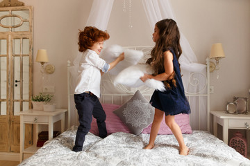 Little children, boy and girl playing