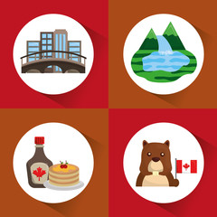 canada set montreal city pancakes beaver forest lake vector illustration
