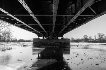 bridge over a snow covered river