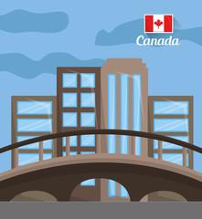 city skyline with landmarks montreal canada vector illustration