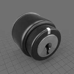Push button with keyhole