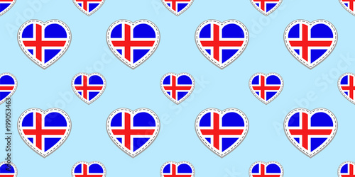 Icelandic Background Iceland Flag Seamless Pattern Vector Stikers
