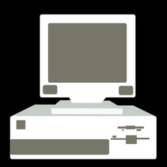 Black and white retro, vintage, hipster, old computer from the 80's, 90's with a system unit located below the monitor on a black background. illustration.