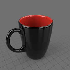 Black and red coffee cup