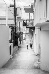 Street by residential buildings