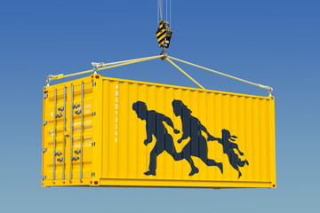 Human smuggling, illegal entry concept. 3D rendering