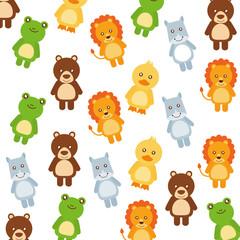 cute little animals pattern background vector illustration design