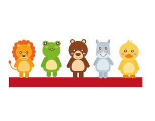 cute little animals in shelf vector illustration design