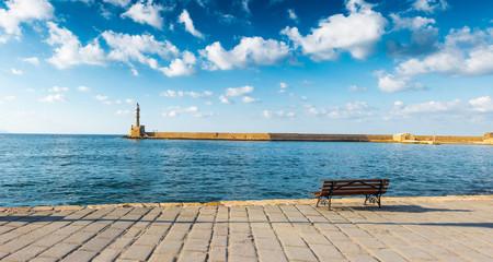 Distant view of the coastline in Chania, Crete, Greece