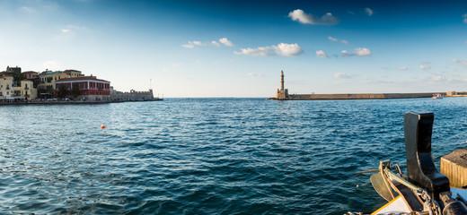 Sea and lighthouse, Chania, Crete, Greece