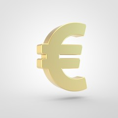 Golden euro icon isolated on white background.