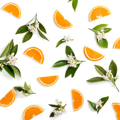 Wall Mural - Orange fruit and flovers, above view.