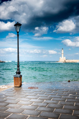 Old harbor and seascape from jetty, Chania, Crete, Greece