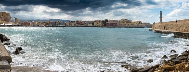 Chania's cityscape and sea, Crete, Greece