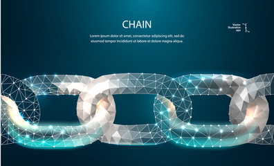 Chain. Blockchain. Low poly